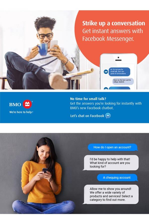 Bank of Montreal ai chatbot social ads