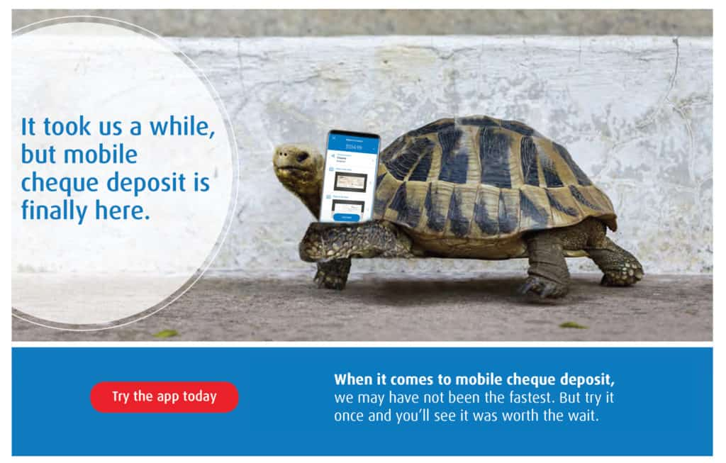 BMO bank of Montreal mobile cheque deposit creative