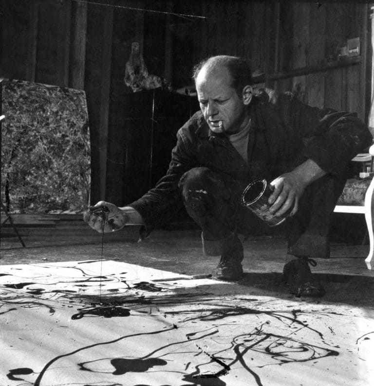 Jackson Pollock painting in his studio in long island 1949