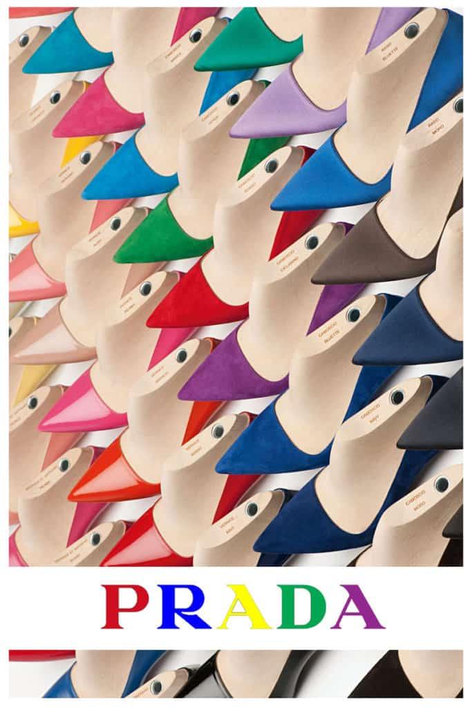 Prada colourful shoe display photoshoot