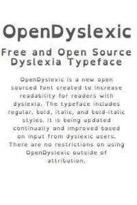 Open Dyslexic typography