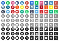 SOcial media icons in different colours